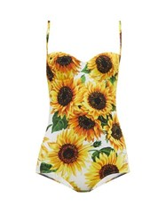 Dolce And Gabbana Sunflower Print Bustier Swimsuit Yellow Print