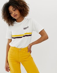 Dickies Relaxed Ringer T Shirt With Chest Logo And Retro Stripe White