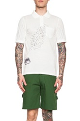 Band Of Outsiders Typewriter Printed Cotton Polo In White