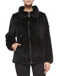 Belle Fare Knitted Mink Fur Bomber Jacket Black