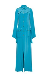 Christian Siriano Gold Button Long Sleeve Shirtdress Blue