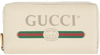 Gucci White Logo Zip Around Wallet