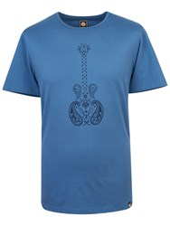 Pretty Green Men's Paisley Guitar T Shirt Blue