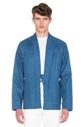 Naked And Famous Kimono Shirt Faded Indigo Print Blue