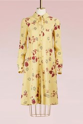 Valentino Flower Printed Long Sleeves Dress Yellow