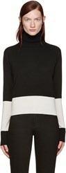 Wendelborn Black And Ivory Colorblocked Turtleneck