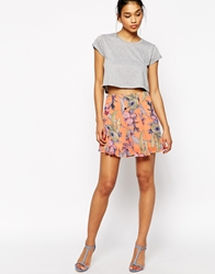 Wyldr Uptown Flared Mini Skirt In Floral Print Multi
