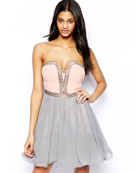 Little Mistress Bandeau Prom Dress With Embellished Neck And Waist Nudegrey