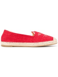 Charlotte Olympia Cat Face Espadrilles Red