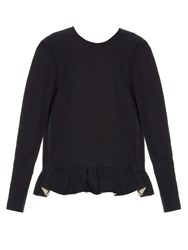 Marni Ruffled Hem Long Sleeved Cotton Top Navy