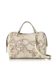 Alviero Martini 1A Classe Medium Geo Safari Coated Canvas Satchel Bag W Cream Leather Details
