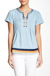Julie Brown Mabel Chambray Tunic Blouse Blue