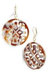 L. Erickson Medallion Filigree Drop Earrings Natural Horn