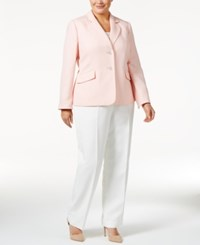 Le Suit Plus Size Colorblocked Jacquard Pantsuit Blush Ivory