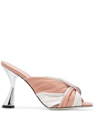 Pollini Two Tone Knotted Mules Pink