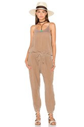 Stateside Bubble Gauze Sleeveless Jumpsuit Brown