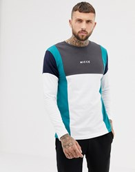 Nicce London Long Sleeve T Shirt In White With Colour Blocking