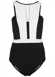 Jets By Jessika Allen Black Cut Out Swimsuit Black And White