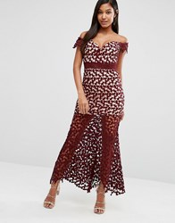 Love Triangle Off Shoulder Maxi Dress In Crochet Lace Wine Red