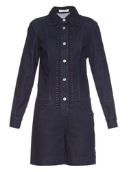 See By Chloe Lace Trim Denim Playsuit