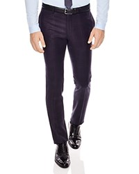 Sandro Notch Check Slim Fit Pants Navy Blue