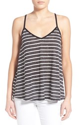 Women's Socialite Stripe Knit Lace Up Tank Black White