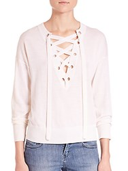 The Kooples Lace Up Merino Knit Sweater White