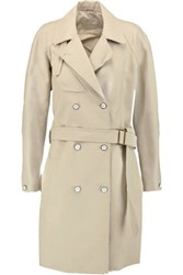 Rag And Bone Port Leather Trimmed Cotton Blend Pique Trench Coat Beige