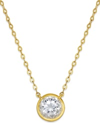Eliot Danori Gold Tone Bezel Set Cubic Zirconia Pendant Necklace