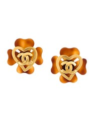 Chanel Vintage Clover Heart Cc Clip On Earrings Metallic