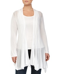 Neiman Marcus Striped Open Front Cardigan White