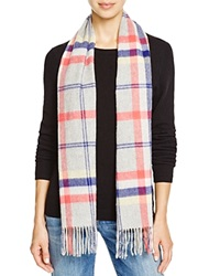 C By Bloomingdale's Plaid Cashmere Scarf Gray Yellow Orange