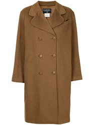 Chanel Vintage Cashmere Double Breasted Coat Brown