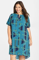 Plus Size Women's Halogen Split Neck High Low Shift Dress Navy Teal Metro Print