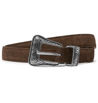 Saint Laurent 2Cm Brown Suede Belt Dark Brown