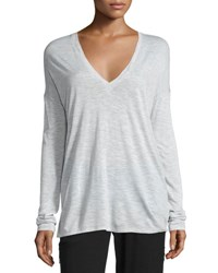 Vince Long Sleeve Wide V Neck T Shirt Lt Heather Grey