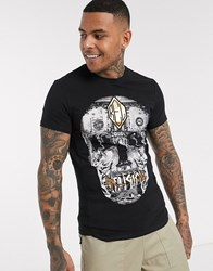 Religion T Shirt With Gold Skull And Money Print In Black