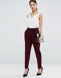 Asos Woven Peg Trousers With Obi Tie Oxblood Brown