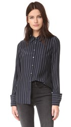 Frame Double Cuff Blouse Navy Blanc Pinstripe
