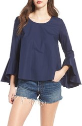 Soprano Women's Bell Sleeve Top Navy