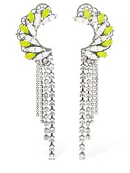 Anton Heunis Maxi Omega Crystal Clasp Earrings Silver