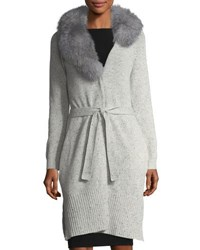 Neiman Marcus Cashmere Cardigan W Fur Collar Heather Grey
