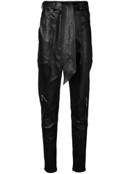 Talbot Runhof Tapered Belted Trousers Black