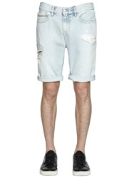 Calvin Klein Jeans Destroyed And Bleached Denim Shorts