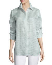 Lafayette 148 New York Brody Sheer Grid Linen Long Sleeve Blouse Iced Mint