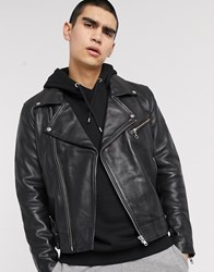Weekday Biker Leather Jacket Black