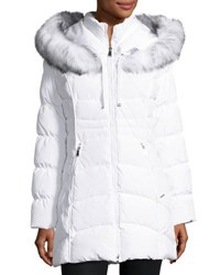 Laundry By Shelli Segal Quilted Down Windbreaker Coat White