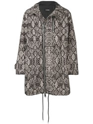 Les Hommes Snake Print Hooded Parka Coat Black