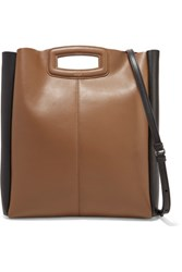Maje Two Tone Leather Shoulder Bag Tan