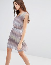 Lavand Linear Print V Neck Dress Grey